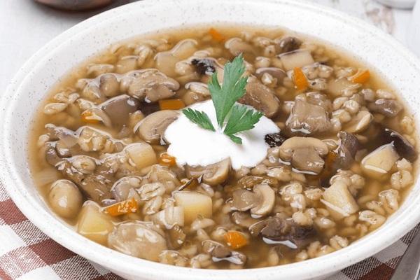 Перловый суп с грибами в мультиварки