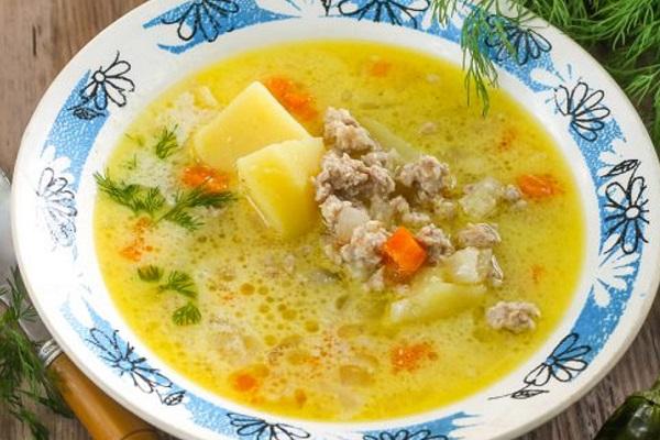 Суп с фаршем и грибами в мультиварки