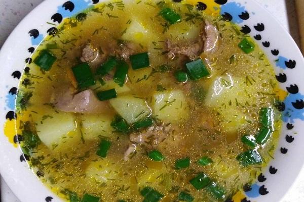 Суп с куриной печенью в мультиварки